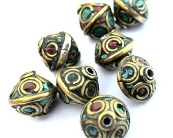 Nepal 6 beads brass with coral and turquoise 13mmx12mm, much more beautiful in person