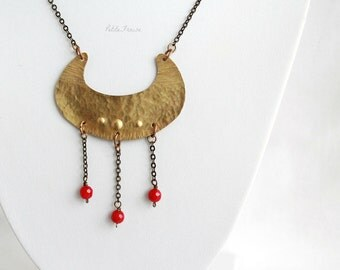 Ethnic tribal necklace, gold and red gemstone, brass crescent moon pendant, statement necklace