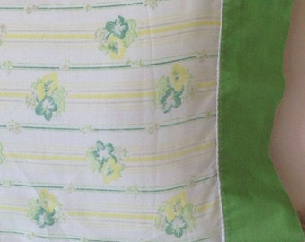 Vintage green floral and yellow stripe pillow case set standard or king