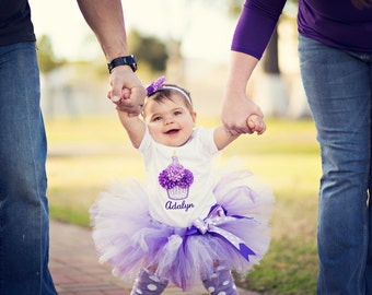 First Birthday Outfit Girl - Baby Girls Cupcake Party Outfit - Purple Tutu - Smash Cake Outfit - Birthday Shirt