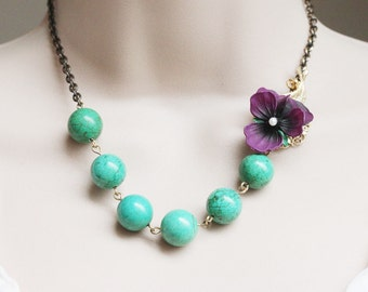 Turquoise Necklace Flower Necklace Purple Pansy Necklace Vintage Jewelry