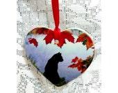 Black Cat heart ornament, Cat gift, Black cat keepsake, black cat  gift, cat gift, lucky black cat