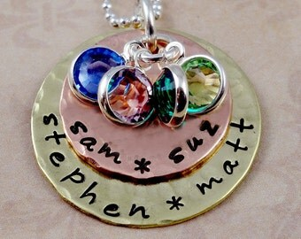 Grandma  Mom Necklace Mothers Day Jewelry  Mixed Metals  Birthstones Hand Stamped Mothers Necklace