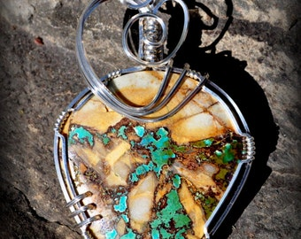 R2 AAA PILOT MOUNTAIN boulder turquoise wire wrapped gemstone pendant sterling