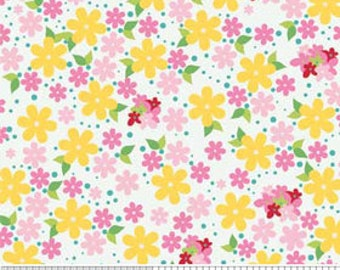 Fabric Hoos in the Forest Yellow Floral Do Hikey Riley Blake 1 Yard Woven Cotton