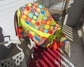 Modern Bright Throw or Coverlet Quilt designed by Bini and made with Moda fabrics designed by Malka Dubrawsky