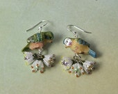 Reserved listing - Birds and flowers spring earrings
