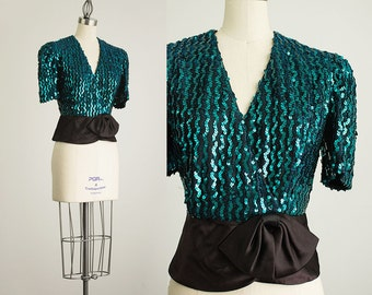 90s Vintage Aqua Sequin Puff Sleeve Wrap Blouse / Size Small