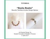 Beading Tutorial, Rosita Bonita Necklace and Bracelet. Pattern with Two-Hole Superduo Twin and Seed Beads. Jewelry Pattern PDF File Download