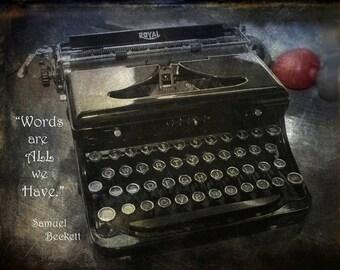 Vintage Typewriter Greeting Cards. or Photo, Note Card, Type