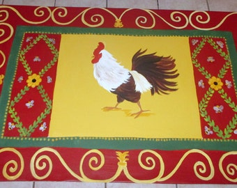 "FLOORCLOTH  French Country  painted canvas rug  ROOSTER 30""x56"""