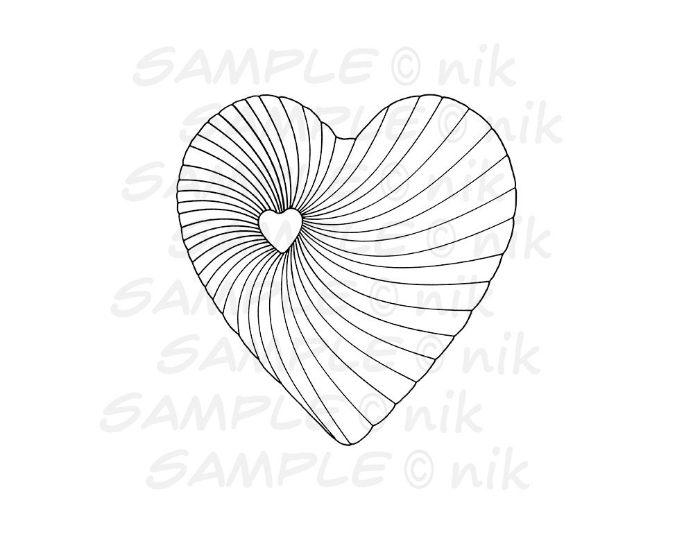 spiral coloring pages to print | Heart Spiral Coloring Page Printable Instant Digital by ...