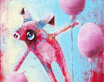 Wallpets (Pietro The Pig) - Original Painting- 16x16cm