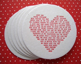 Letterpress Coaster Set - heart love story (set of 12)