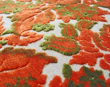Vintage Cut Velvet Upholstery Fabric Orange Flowers and Leaves