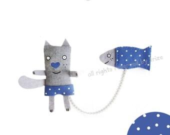 Cat  and  Fish brooh. Fish brooch. Animal brooch.