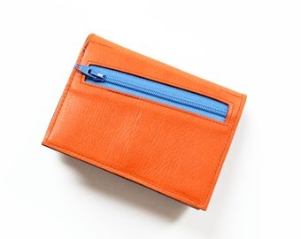 Womens Leather Wallet with Coin Purse, Gift for Her, Trifold Wallet, Leather Wallet for Women, Wife Gift - The Frances Wallet in Orange