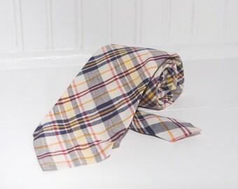 Men's Necktie / Vintage Plaid Cotton Tie / Robert talbot