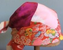 Bright Red Pink Orange Silk Head Scarf Vintage Kimono OOAK  -    Gina