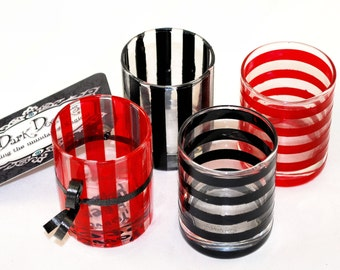 "Shot Glasses - Set of 4 - Roulette - Always Bet on Black -  Striped - ""You've been poisoned"" - Dark Decors - Unique Gifts"