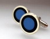 Mod Cufflinks -  Sixties Retro Round Blue Cuff Links - Round Silver Cufflink -  Valentines Gift for  men