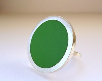 Leaf Green Ring - Big Cocktail Ring - Retro Jewellery - One Inch Silver Ring -  Minimalist Ring - Handmade UK  - Pop