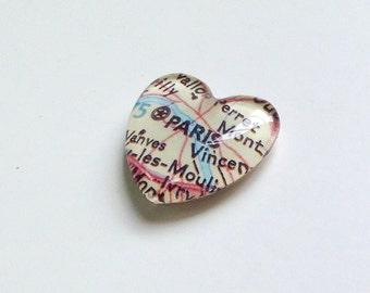 NEW Vintage Map Magnet - Heart Shape - Paris France