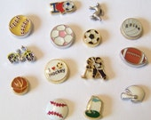 Floating Sports and Hobby Charms,  CHOOSE ONE and will fit into will fit into any brand of floating charm locket neclaces or bracelets