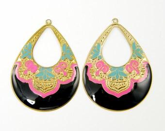 Pair of Ornate Black Turquoise Pink Gold Large Hoop Earring Findings Long Teardrop Enamel Jewelry |BL1-4|2