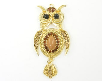 Gold Owl Pendant with Tan Black Cab and Amber Rhinestones Articulated Trendy Pendant |G10-5|1