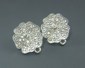 Rhinestone Flower Earring Posts with Loop Clear Silver Bridal Crystal Wedding Earring Findings Bridesmaid Special Occasion Jewelry |S4-16|2