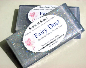 Sparkle Fairy Dust - Handmade natural glycerin Bar Soap (clean fun, pretty, gift ready, valentines, birthday, surprise) stardust Soaps
