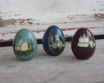 Hand Painted Lacquer Russian Wooden Eggs Orthodox Church XB Set of 3 Signed A F (00243-PB)