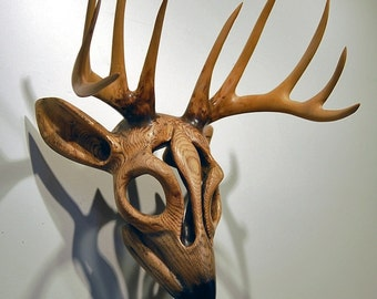 Antler Reverence For Prey Mask wood carving by Jason Tennant. Nature art, wildlife art