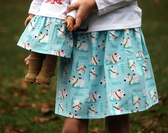 Matching Girl and AG Doll Clothing - Twirl Skirts in Whimsical Puppy Christmas, Many Sizes Available