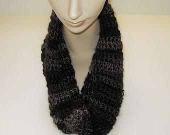 Cowl Scarf Black Gray Hand Crocheted