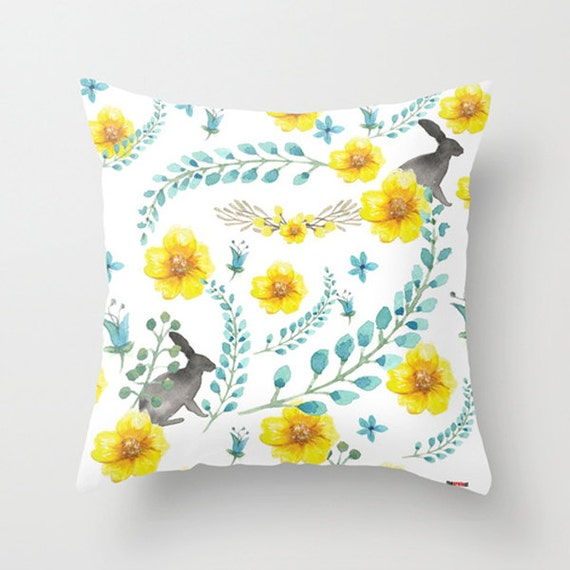 Items similar to Decorative Pillow cover - Flowers pillow - Bunny Pillow - White and yellow ...