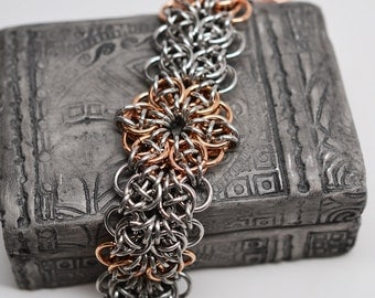 Bronze & stainless steel celtic star strap wide cuff style chainmaille bracelet