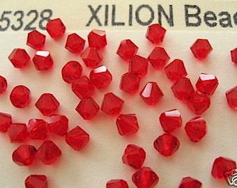 48 Light Siam Swarovski Crystal Beads Bicone 5328 4mm