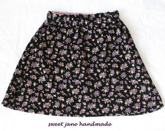 GIRLS SKIRT / size 6 / lavender, black, tan floral print / vintage corduroy cotton