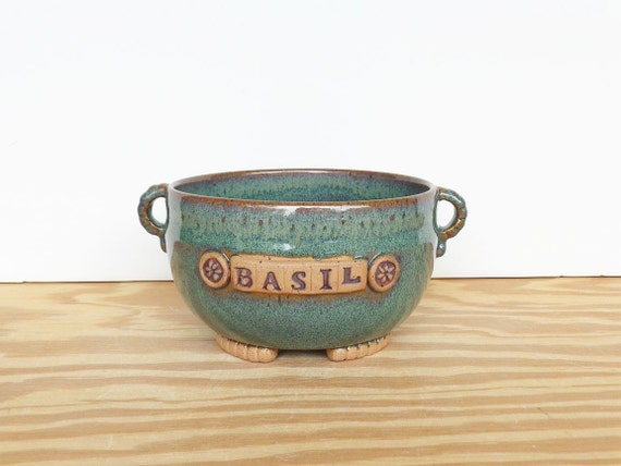 Stoneware Planter Pot in Sea Mist Glaze - Basil