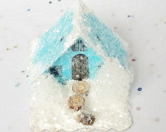 Vintage Putz Style Tiny Miniature Candy Blue Glitter Sugar House with 2 White Trees Shabby Christmas Village Ornament  for Tree
