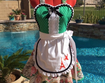 Aprons, French Chic Sassy Apron with White Overlay, Womens Plus Sizes, Pin Up, French Maid, Eiffel Tower Embroidery