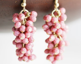 Rose Pink Czech Glass Bead Cluster Earrings with Gold Tone Hooks (E59)