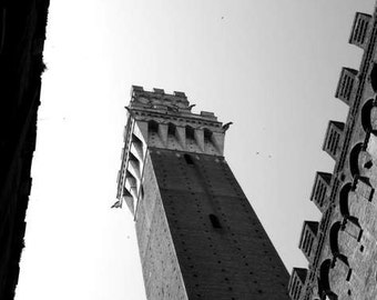 SALE: black and white photography (Italy Tuscany travel photo print campanile clock tower historical architecture wall art home decor)