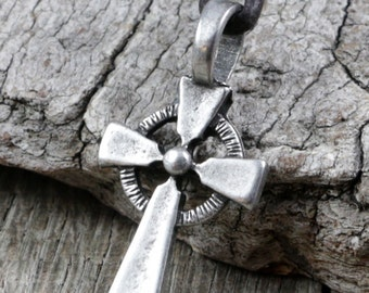 Mens Leather Cross Necklace - Pewter Cross Pendant, Celtic Style, Brown Cord, Adjustable, Surfer, Christian, Jesus