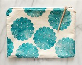 Book Bag . Fabric Pouch . Cosmetic Bag . Block printed . Handmade . Handprinted . One of a Kind