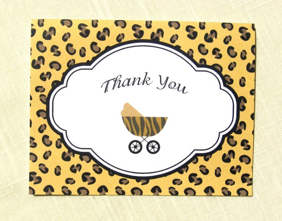 animal print baby thank yous set of 25 baby shower thank you cards