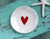 Red Heart on Small Round Dish