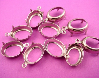 12 silver tone Oval Prong Settings 1 ring charms open Back 14x10